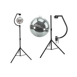 SATISFIRE Discolicht Spiegelkugel SET 30cm PROFI Kugel mit schwarzer Stativhalterung - inkl. Motor