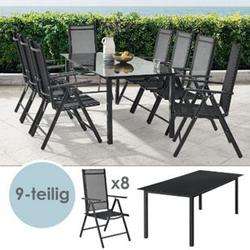 ArtLife Aluminium Gartengarnitur Milano Gartenmöbel Set mit Tisch und 8 Stühlen dunkel-grau