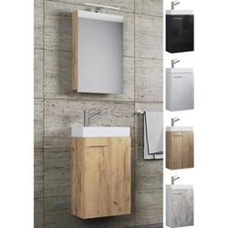 VCM Waschplatz Waschbecken Schrank + Spiegelschrank WC Gäste Toilette Badmöbel klein schmal