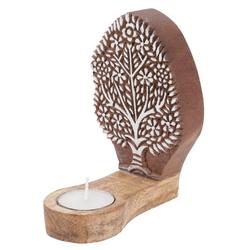 Guru-Shop Windlicht Indischer Teelichthalter Holzstempel - Modell 1