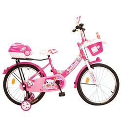 Byox Kinderfahrrad Kinderfahrrad 20 Zoll 2082, 1 Gang 1 Gang, keine, Pink, Stützräder, zwei Gepäckkörbe, Klingel
