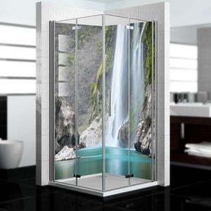 dedeco Alu Eck-Duschrückwand mit Wasserfall V15 Motiv - 2 x 90x200 cm - Perfekt als Badrückwand zum Fliesenersatz, passend für viele Bäder - Made in Germany