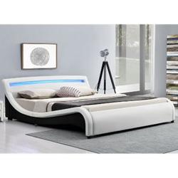 ArtLife Polsterbett Malaga 140 x 200 cm mit LED Kopfteil - weiß