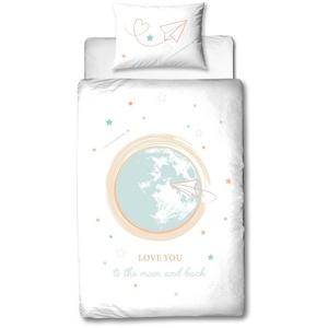 Babybettwäsche Sterne Weltall Bettwäsche 100x135 + 40x60 cm 2tlg., 100 % Baumwolle in Flanell, soft und kuschelweich für Babys und Kinder, Traumhelden, MTOnlinehandel