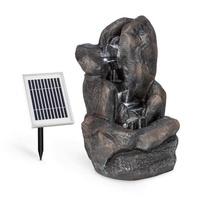 Blumfeldt Felsquell Solar-Kaskadenbrunnen Akkubetrieb 2 kW Solarpanel 3 LEDs