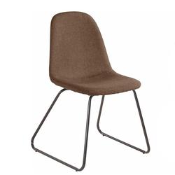 Webstoff Stühle in Hellbraun Metallbügeln (Set)