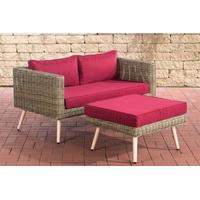 Clp 2er Sofa MOLDE mit Fußhocker I Natura I Loungeset Rundrattan I Gartensofa mit Hocker I 5mm Natura-40 cm (Hellbraun)-Rubinrot