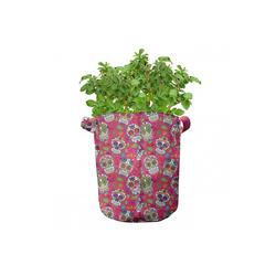 Abakuhaus Pflanzkübel hochleistungsfähig Stofftöpfe mit Griffen für Pflanzen, Bunt Zuckerschädel-Blumen 28 cm x 28 cm