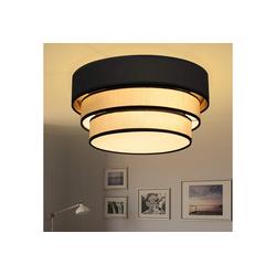 ZMH Deckenleuchte Rund Deckenlampe Ø40cm E27 Wohnzimmer aus Moderner Stoff-Lampenschirm Stoffleuchte Textil Rustikal