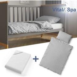 VITALISPA Kinderbettwäsche 135x100 cm Bettset Bettbezug Laken 3 Teilig Grau Sterne