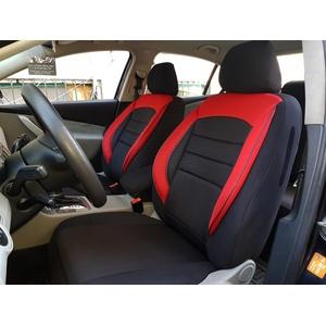 seatcovers by k-maniac Sitzbezüge für Skoda Fabia III Combi Universal schwarz-rot Autositzbezüge Sitzschoner Set Vordersitze Autozubehör Innenraum V934768