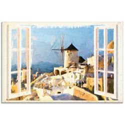 Artland Glasbild Blick durch das Fenster auf Santorin, Fensterblick (1 Stück) 60 cm x 45 cm