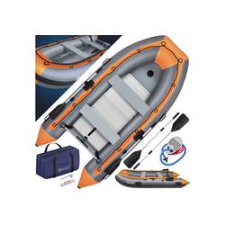 KESSER Schlauchboot, Gummiboot, Wasserfahrzeug, aufblasbares Ruderboot, Freizeitboot, Schlauchboot - mit 2 Sitzbänken, Aluboden, Luftpumpe, Reparaturset und Paddel - Aufblasbares Ruderboot in Grau - PVC, Familiengröße bis 4 Personen orange
