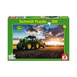 Schmidt Spiele Puzzle John Deere, Traktor 6150R mit Güllefass, 200 Teile, Puzzleteile