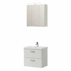 Waschtisch und Spiegelschrank 3D Weiß (2-teilig)