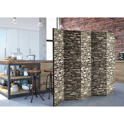 Paravent mit Steinmauer Motiv 225 cm breit