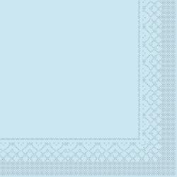 Mank Tissue Basics Servietten, 33 x 33  cm, 1/4 Falz, 3-lagig, 1 Karton = 6 x 100 Stück = 600 Servietten, hellblau