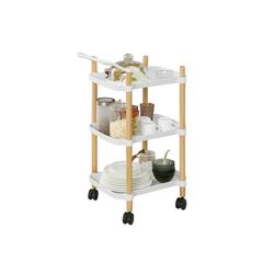 SoBuy Servierwagen SVW06, Küchenwagen mit 3 Ablagen Beistellwagen Teewagen weiß