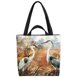 VOID Henkeltasche (1-tlg), Kraniche Landschaft Vögel Teich Garten Kranich Natur Gemälde See Wiese
