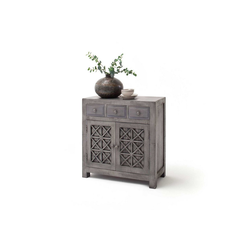 MÖBEL IDEAL Kommode Lao, aus Massivholz in Grau - 85 cm Breit