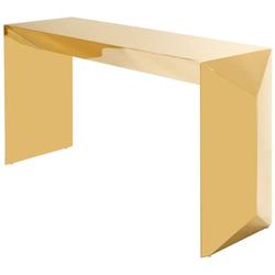 Casa Padrino Luxus Designer Konsole / Konsolentisch Gold 155 x 45 x H. 76 cm - Designermöbel