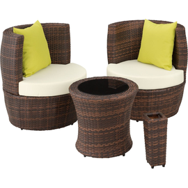 Tectake Nizza Lounge-Set schwarz/braun