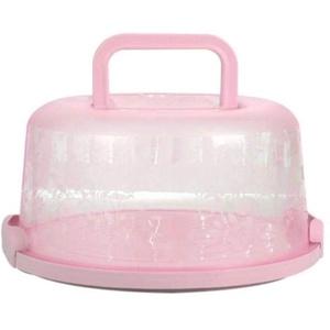 Singeru Kuchenbehälter rund mit Haube Fresh Kuchenbehälter Fresh Tortenglocke Kuchenform Kuchenbox BPA-freier Kunststoff Kuchentransportbox (Pink)