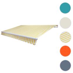 Alu-Markise T791, Gelenkarmmarkise Sonnenschutz 4,5x3m ~ Acryl Gelb/Weiß