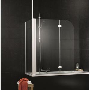 Schulte Komfort Badewannenfaltwand 2-teilig mit Seitenwand Klar hell Chromoptik Sondermaß - D338099 41 50 Links