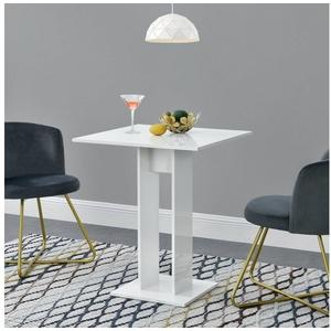 en.casa Küchentisch, Lindesnes Esstisch quadratisch 65x65x78cm weiß hochglanz weiß