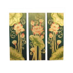 Oriental Galerie Leinwandbild Bild Wand Deko Leinwand Triptychon 100 cm Nr. 5, Blumen, Abstrakt (3 Stück), Handarbeit