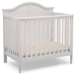 Delta Children Parker Mini Convertible Baby Crib with Mattress and 2 Sheets, Greenguard Gold Certified - Bianca White