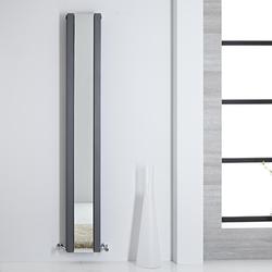 Design Spiegelheizkörper Schmal Vertikal Anthrazit 1800mm x 265mm 901W