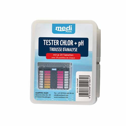 mediPOOL Tester Chlor/pH Pooltester m. 2x 20 Tabletten Testtabletten Testgerät
