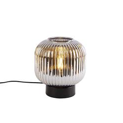 Art Deco Tischlampe schwarz mit Rauchglas - Karel