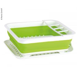 Faltbarer Silikon-Geschirrtrockner weiß/lime
