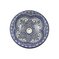 Casa Moro Waschbecken Casa Moro Marokkanisches Keramik-Waschbecken Fes46 rund Ø 40 cm bunt Höhe 18 cm Handmade Waschschale, Orientalisches Handwaschbecken für Bad Waschtisch Gäste-WC, WB40256, Handmade