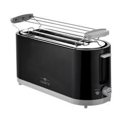 Lentz Toaster LENTZ 4-Scheiben 1200-1400 Watt Toaster Langschlitztoaster Toaster Toastautomat Brötchen-Aufsatz, Schwarz