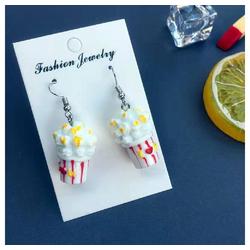Eyecatcher Ohrring-Set Popcorn Ohrringe. Hakenohrringe. weiß