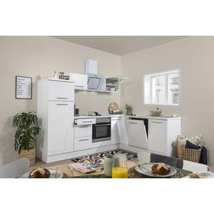 Winkelküche Küchenzeile Küche L-Form Einbauküche Glanz 260x200 cm respekta weiß