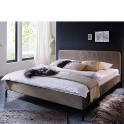 Niedriges Bett in Taupe Webstoff 180x200 cm