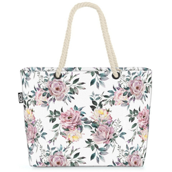 VOID Strandtasche (1-tlg), Rosenblüten Blumenmuster Beach Bag Blumen Floral Rosen-Strauch Samen Planzen