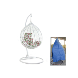 RAMROXX Hängesessel Luxus Hängesessel mit Gestell Weiss Sitzkissen Blumen XL + Cover Blau