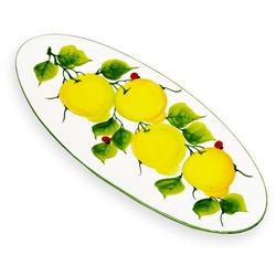 Lashuma Servierteller Marienkäfer Zitrone, Keramik, Ovaler Salatteller, Servierplatte 39x16 cm
