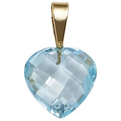 JOBO Herzanhänger Herz, 585 Gold mit einem Blautopas