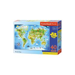 Castorland Puzzle Bodenpuzzle 40 Teile Maxi - Weltkarte, Puzzleteile