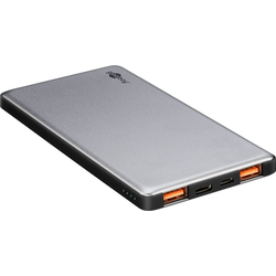 Goobay Slim Powerbank Quick Charge 3.0, 5.000 mAh, silber