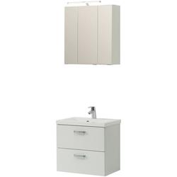 HELD MÖBEL Badmöbel-Set Montreal, (3-tlg), bestehend aus Spiegelschrank, Waschbeckenunterschrank und Waschbecken weiß