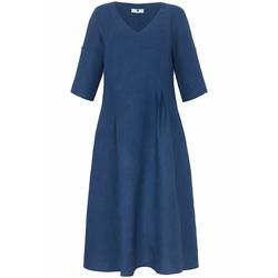 Abendkleid Kleid mit 3/4-Arm aus 100% Leinen Anna Aura meerblau