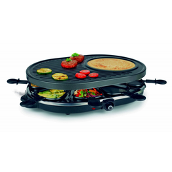 dynamic24 Raclette, 8 Raclettepfännchen, 1200 W, Raclette 8 Pers. Crepemaker Tischgrill Elektrogrill Crepe Grill Partygrill 1200W